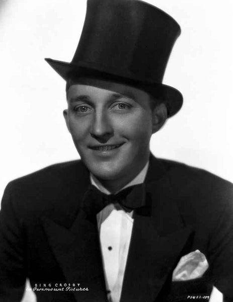 Bing Crosby smiling in Tuxedo with Magician Hat Portrait with White Background Premium Art Print