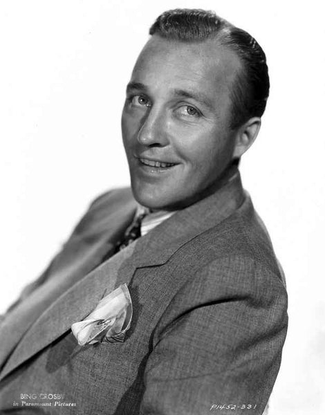 Bing Crosby smiling in Formal Suit Portrait with White Background Premium Art Print