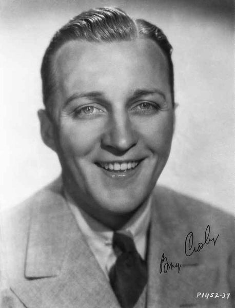 Bing Crosby smiling in Formal Suit Close Up Portrait with White Background Premium Art Print