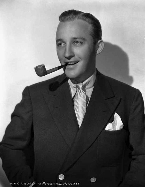 Bing Crosby Posed wearing Tuxedo with Pipe Portrait White Background Premium Art Print