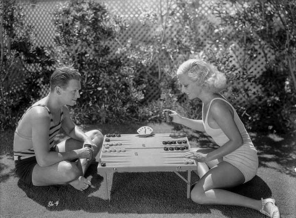 Joan Crawford Playing with a Guy in the Table Premium Art Print