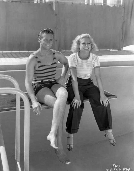 Joan Crawford sitting on the Diving Board with a Friend in Classic Premium Art Print