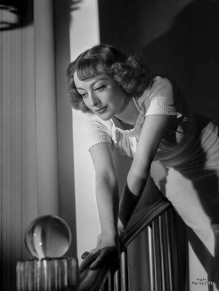 Joan Crawford Holding on the Railings in a Classic Portrait Premium Art Print