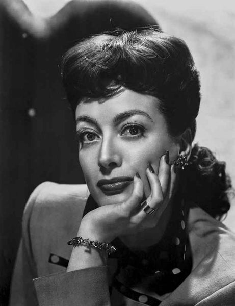 Joan Crawford wearing a Bracelet, Earrings and a Ring in Classic Portrait Premium Art Print