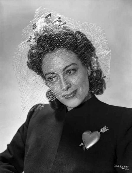 Joan Crawford wearing a Black Suit in a Classic Portrait Premium Art Print