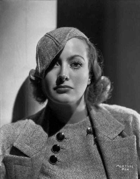 Joan Crawford wearing a Thick Coat with Matching Hat in Classic Premium Art Print