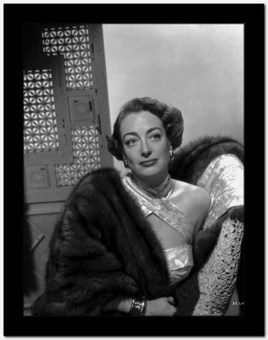 Joan Crawford Looking Away From the Camera while Leaning on a Chair in Classic High Quality Photo