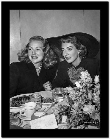 Joan Crawford Dining with a Woman in Classic High Quality Photo