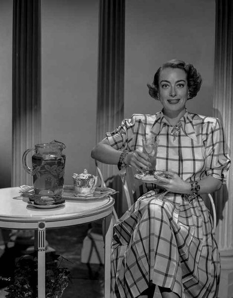 Joan Crawford wearing a Checkered Wrap Dress in Classic Premium Art Print