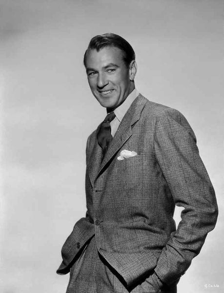 Gary Cooper smiling with Gray Background Premium Art Print