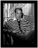 Gary Cooper Seated in Striped Collared Shirt High Quality Photo