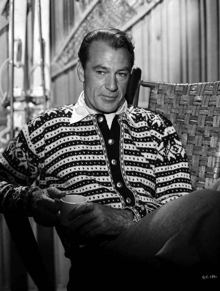 Gary Cooper Seated in Striped Collared Shirt Premium Art Print