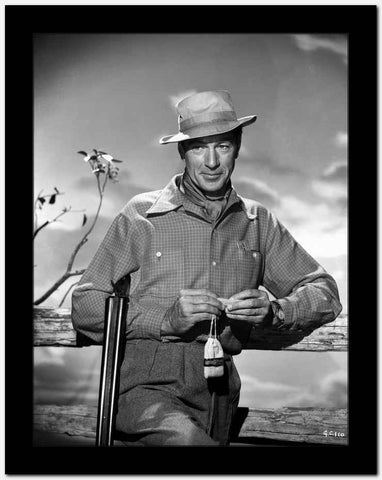 Gary Cooper leaning on Fence in Western Outfit High Quality Photo