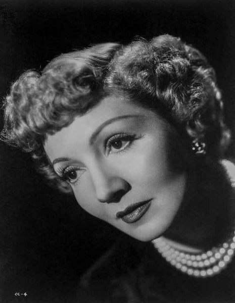 Claudette Colbert Looking Away in Black with Black Background Premium Art Print