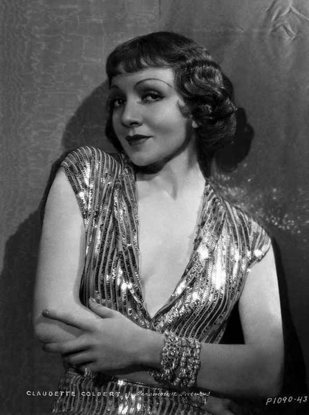 Claudette Colbert Posed in Glossy Dress with Arm's Cross Premium Art Print