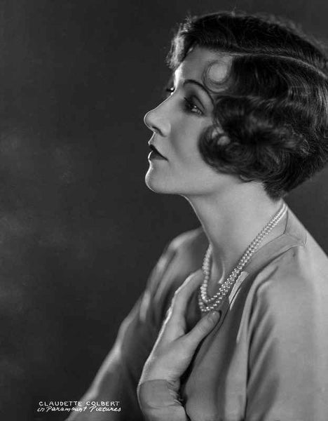 Claudette Colbert Posed Side View in White Shirt with Necklace Premium Art Print
