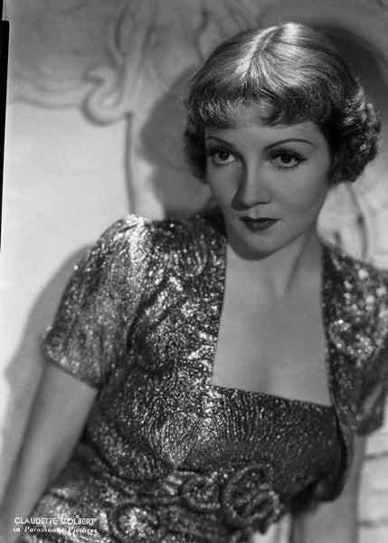 Claudette Colbert Posed in Glossy Dress with Dark lipstick Premium Art Print
