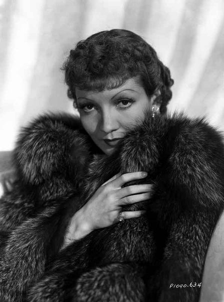 Claudette Colbert in Fur Dress with White Background Premium Art Print