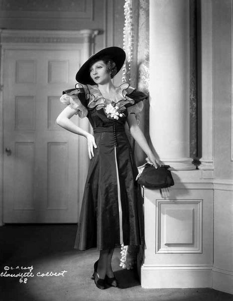 Claudette Colbert Posed in Black Dress with Hat Premium Art Print