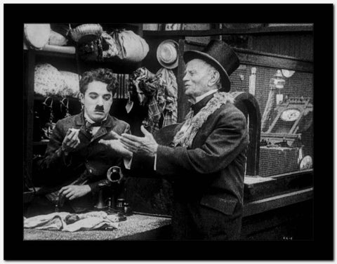 Charlie Chaplin Talking to an Old Man High Quality Photo