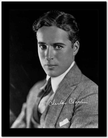 Charlie Chaplin in a Gray Suit and Tie with Signature High Quality Photo
