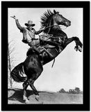 James Cagney Rode on a Black Horse in Long Sleeve Coat and Cowboy Hat with Right Hands Raise Up High Quality Photo