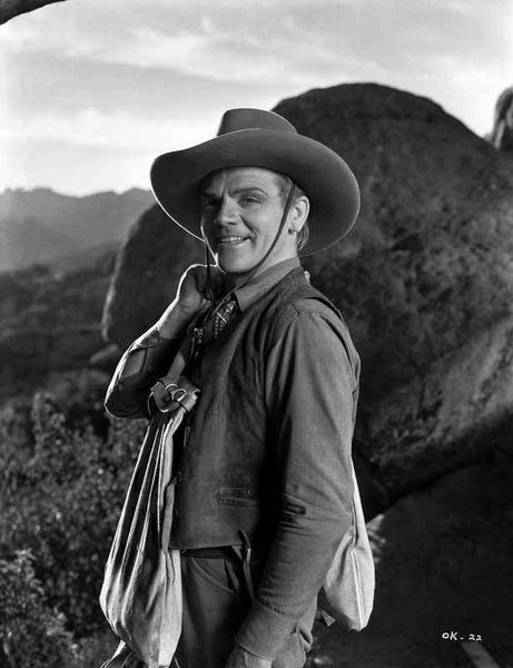 James Cagney standing with Right Hand on the Shoulder in Cowboy Outfit Classic Portrait Premium Art Print