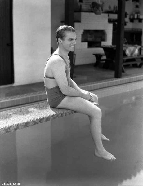 James Cagney sitting in Swimming Outfit Classic Portrait Premium Art Print