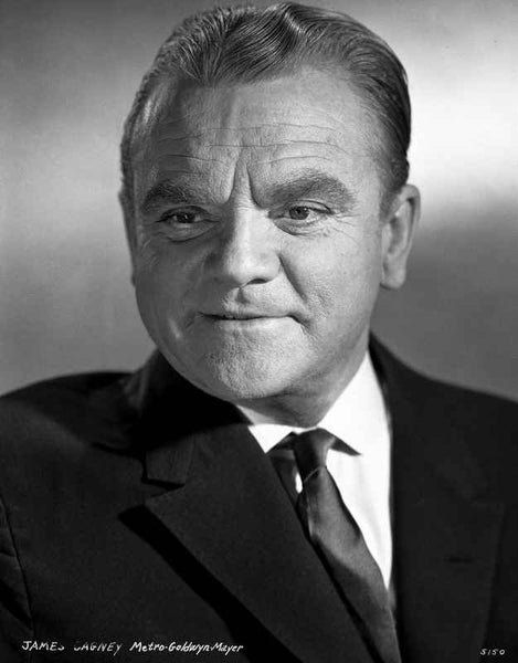 James Cagney Portrait in Black Velvet Sui and Silk Necktie with White Collar Shirt and Brushed Up Hair Premium Art Print