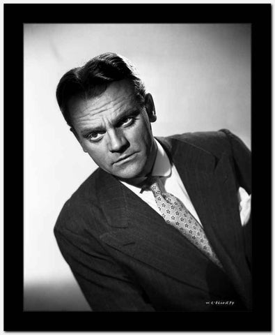 James Cagney Portrait Leaning Forward in Dark Grey Velvet Suit and White Polka Dot Necktie with White Background High Quality Photo