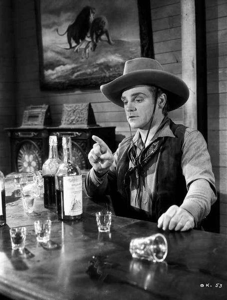 James Cagney sitting on the Chair In front of the Table in Vest Shirt and Long Sleeve Collar Shirt with Cowboy Brimmed Hat Premium Art Print