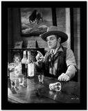 James Cagney sitting on the Chair In front of the Table in Vest Shirt and Long Sleeve Collar Shirt with Cowboy Brimmed Hat High Quality Photo
