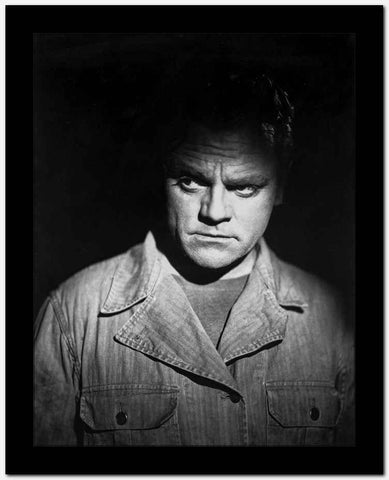 James Cagney Portrait in Cotton Jacket and Black Round Neck Shirt with Face Highlighted High Quality Photo
