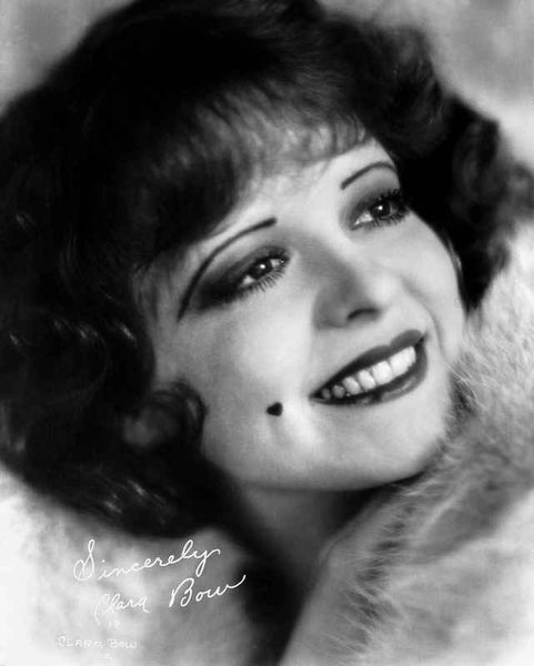 Clara Bow smiling in Fur Dress with Mole on Right Cheeks Premium Art Print
