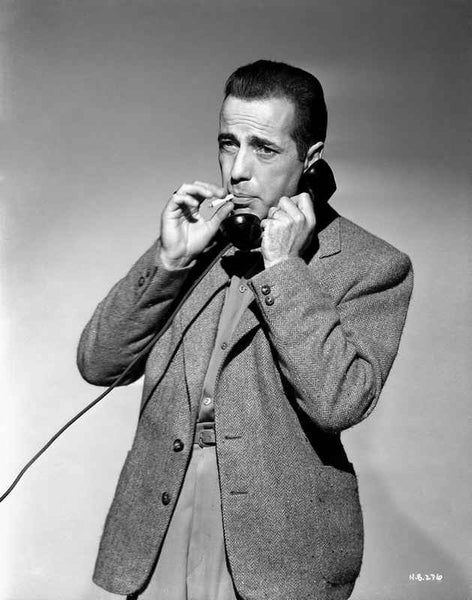 Humphrey Bogart on telephone smoking Premium Art Print