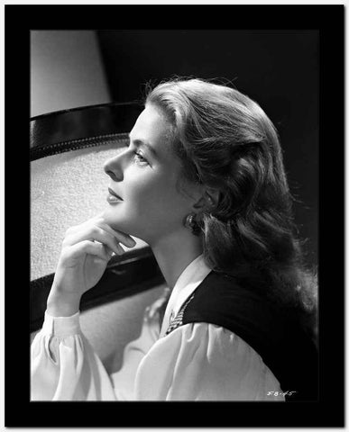 Ingrid Bergman Chin on Fingers in Long Sleeve Blouse High Quality Photo