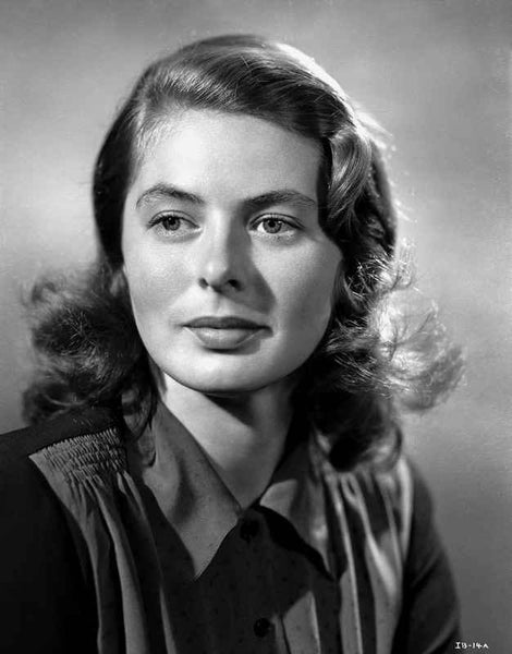 Ingrid Bergman wearing a Silk Blouse with Collar Premium Art Print
