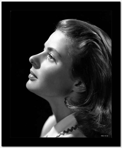 Ingrid Bergman Chin Up Pose in White Blouse High Quality Photo