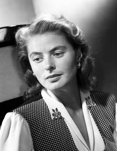 Ingrid Bergman wearing a Checkered Vest Premium Art Print