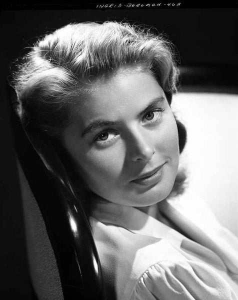 Ingrid Bergman Leaning and wearing a Blouse Premium Art Print