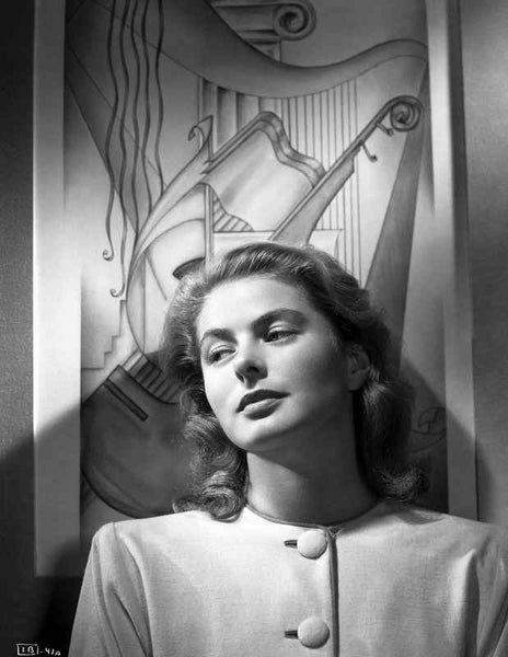 Ingrid Bergman wearing a Long Sleeve Blouse with Big Buttons Premium Art Print