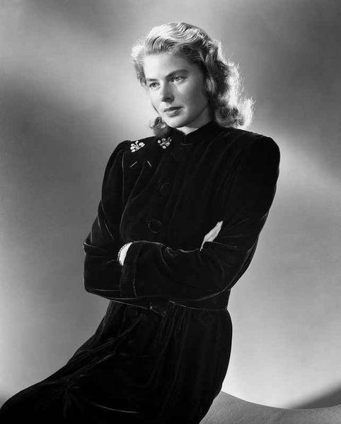 Ingrid Bergman in a Black Long Sleeve Dress and Arms Crossing on Chest Premium Art Print