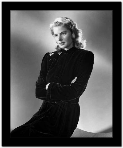 Ingrid Bergman in a Black Long Sleeve Dress and Arms Crossing on Chest High Quality Photo