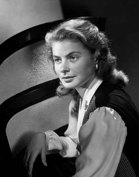 Ingrid Bergman wearing a White Long Sleeve Blouse Premium Art Print