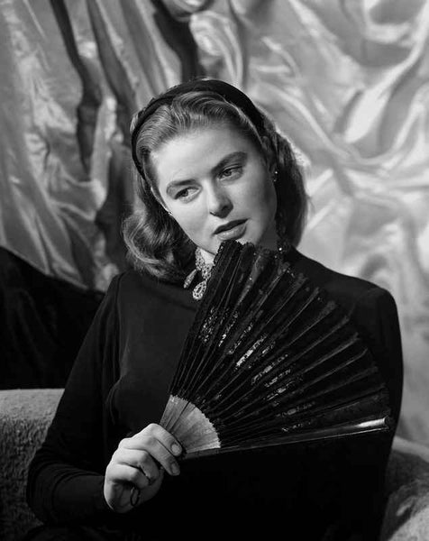 Ingrid Bergman Posed with a Fan Premium Art Print