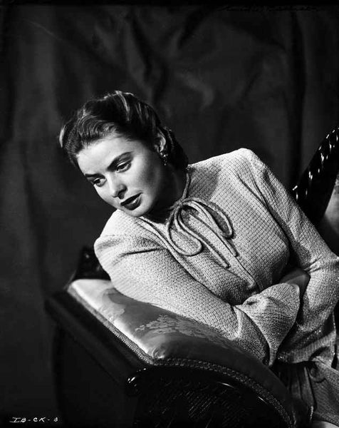 Ingrid Bergman sitting and Leaning in a Long Sleeve Dress Premium Art Print