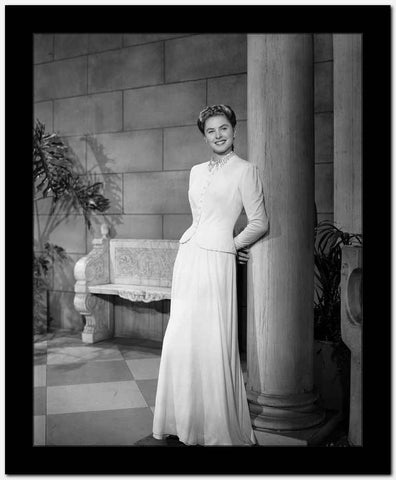 Ingrid Bergman Leaning on a Post in a White Dress High Quality Photo