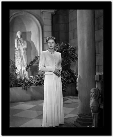 Ingrid Bergman in Whit Gown Portrait High Quality Photo