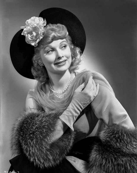 Lucille Ball smiling in Elegant Dress Portrait with Hat Premium Art Print