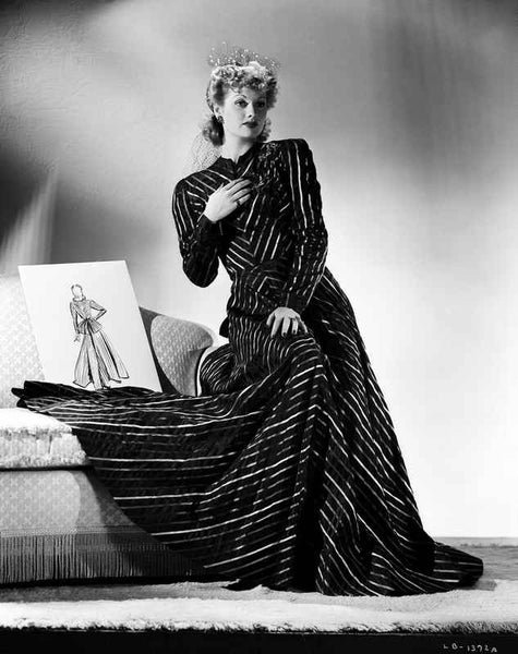 Lucille Ball sitting in Stripes Black Long Dress Premium Art Print